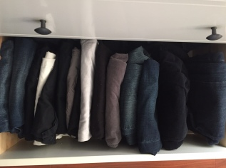 efficiently folded jeans, pants, and shorts